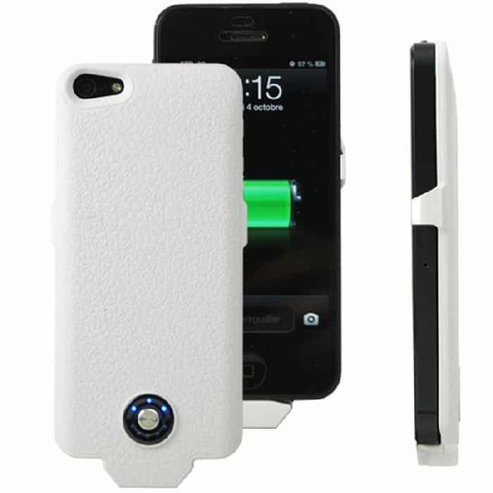 Coque avec batterie amovible 2500mAh pour iPhone 5/5S - Blanc Accessoires Garantie 1 an | McPrice Paris Trocadéro