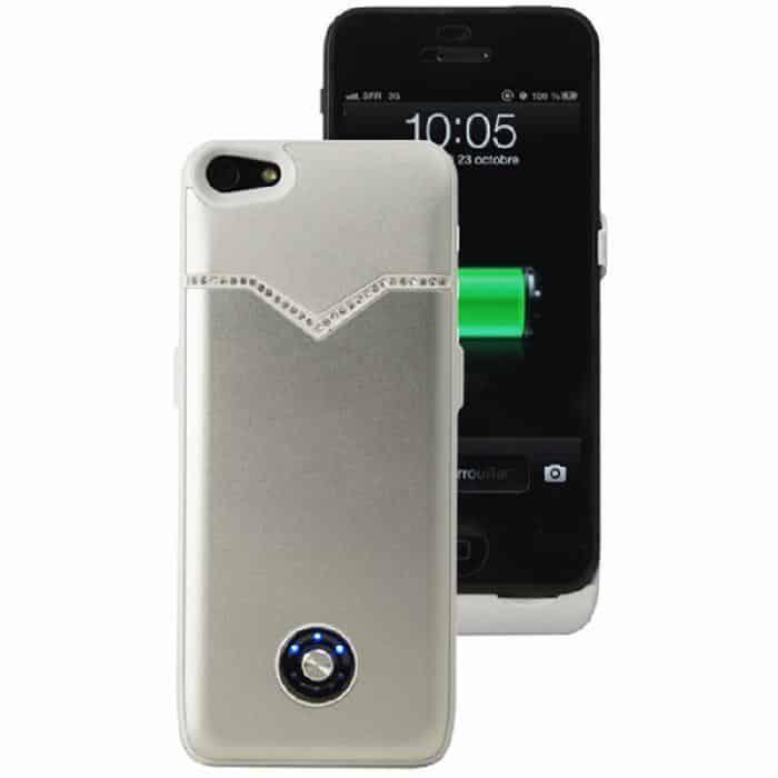 Coque avec batterie amovible 3000mAh pour iPhone 5/5S - Argent Strass Accessoires Garantie 1 an | McPrice Paris Trocadéro