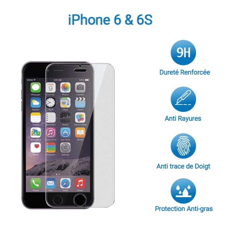 Film Verre Trempé Protection Avant pour iPhone 6 & 6S | McPrice Paris Trocadero