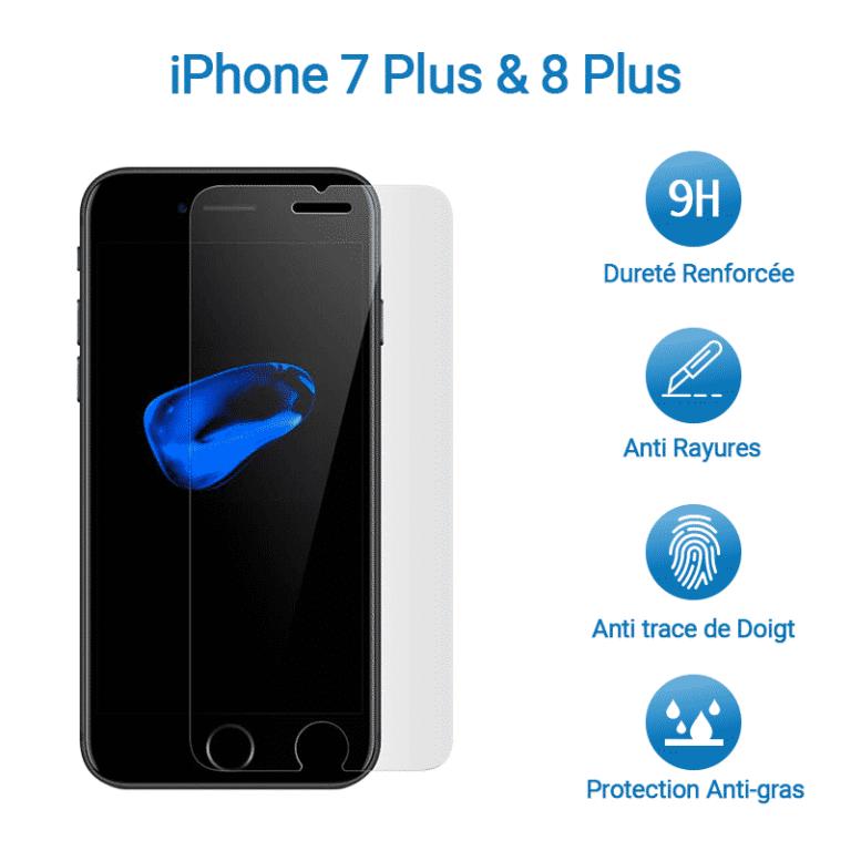 Film Verre Trempé Protection Avant pour iPhone 7 & 8 Plus | McPrice Paris Trocadero