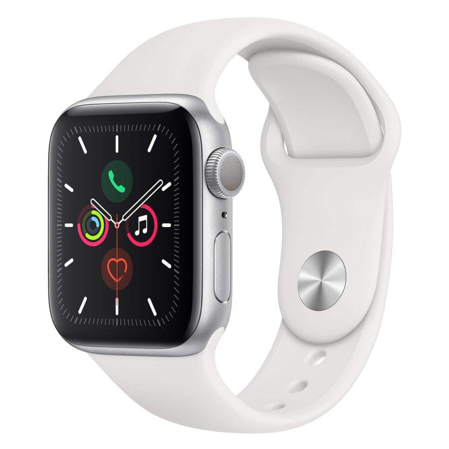 Apple Watch Series 5 GPS Aluminium Argent Bracelet Sport 40 mm - Blanc - Neuf Garantie 1 an en Stock | Trocadéro Paris