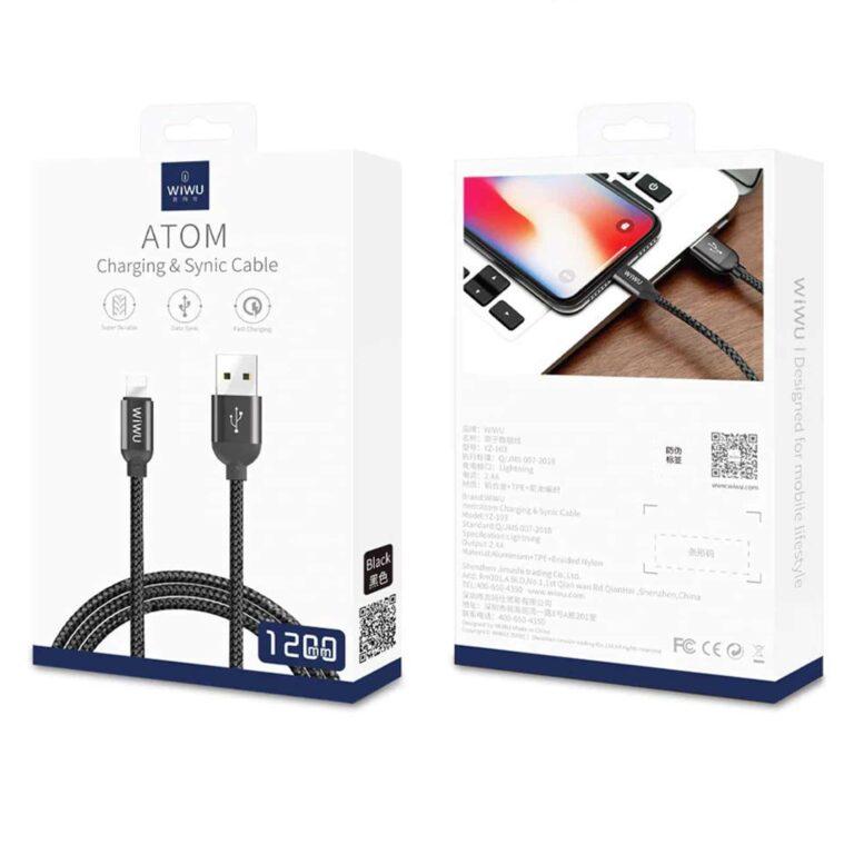 WIWU Câble Tressé en Nylon Lightning vers USB (1,2 m) - Noir | Accessoires Garantie 1 an en Stock | McPrice Paris Trocadéro