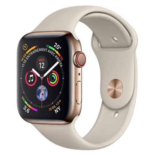 Apple Watch Series 4 GPS + Cellular Acier Or Sport Gris Sable - 44 mm | McPrice Paris Trocadero v1
