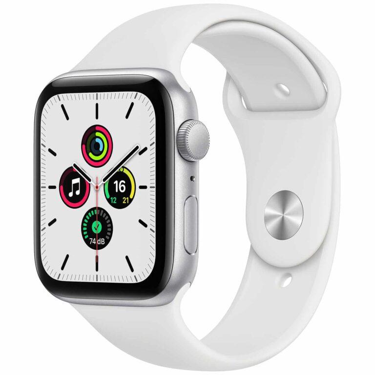 Apple Watch Series SE GPS Aluminium Argent Bracelet Sport 44 mm - Blanc | Neuf en Stock | McPrice Paris Trocadéro