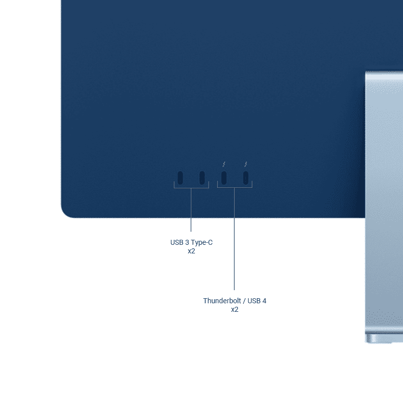 Neuf | Apple iMac 24 Pouces Retina 4,5K Puce Apple M1:8Go:512Go SSD:CPU 8 Cœurs:GPU 8 Cœurs - Bleu | McPrice Paris Trocadéro